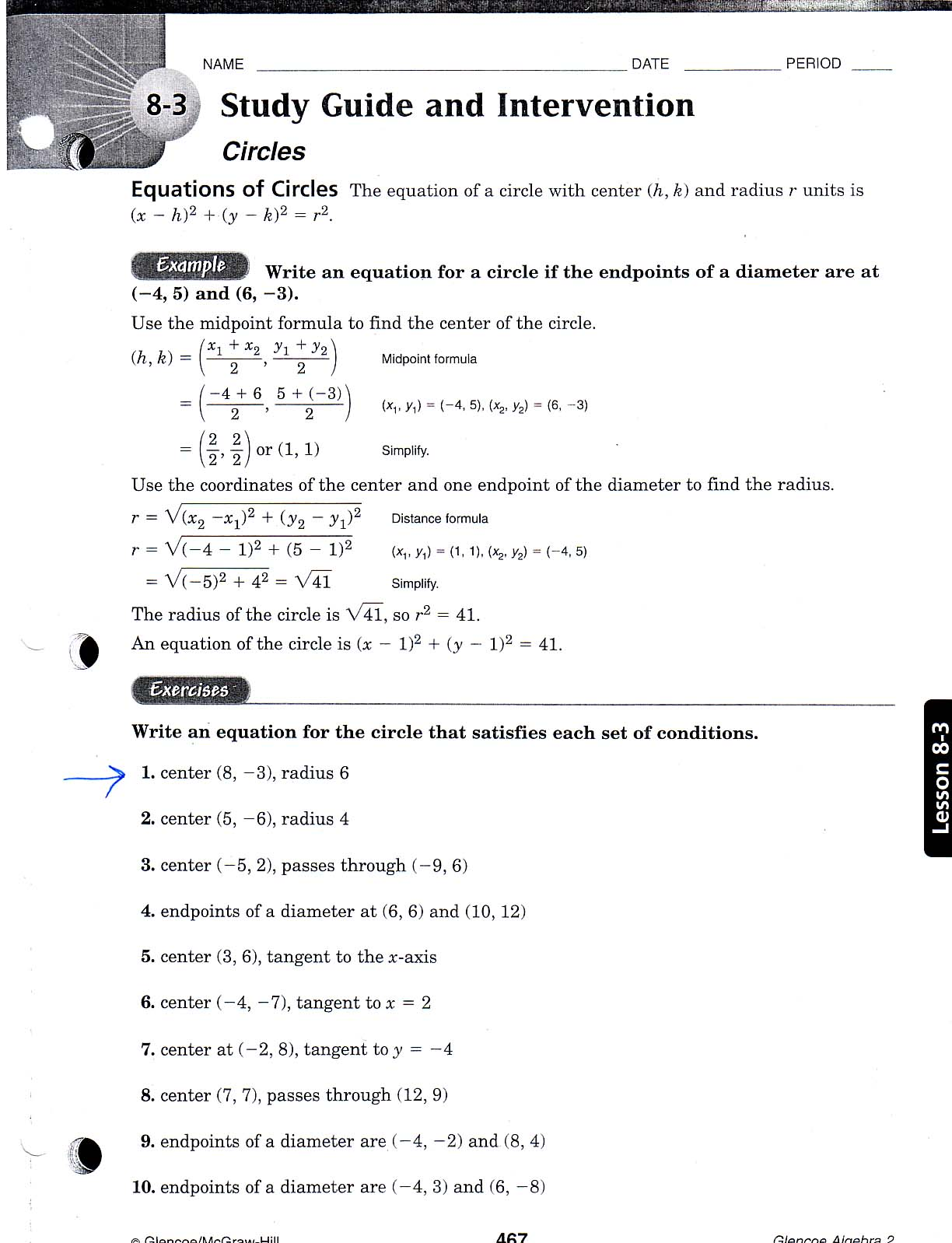 Free Worksheet Ellipse Worksheet the math instructor example curriculum circles worksheet 208kb description